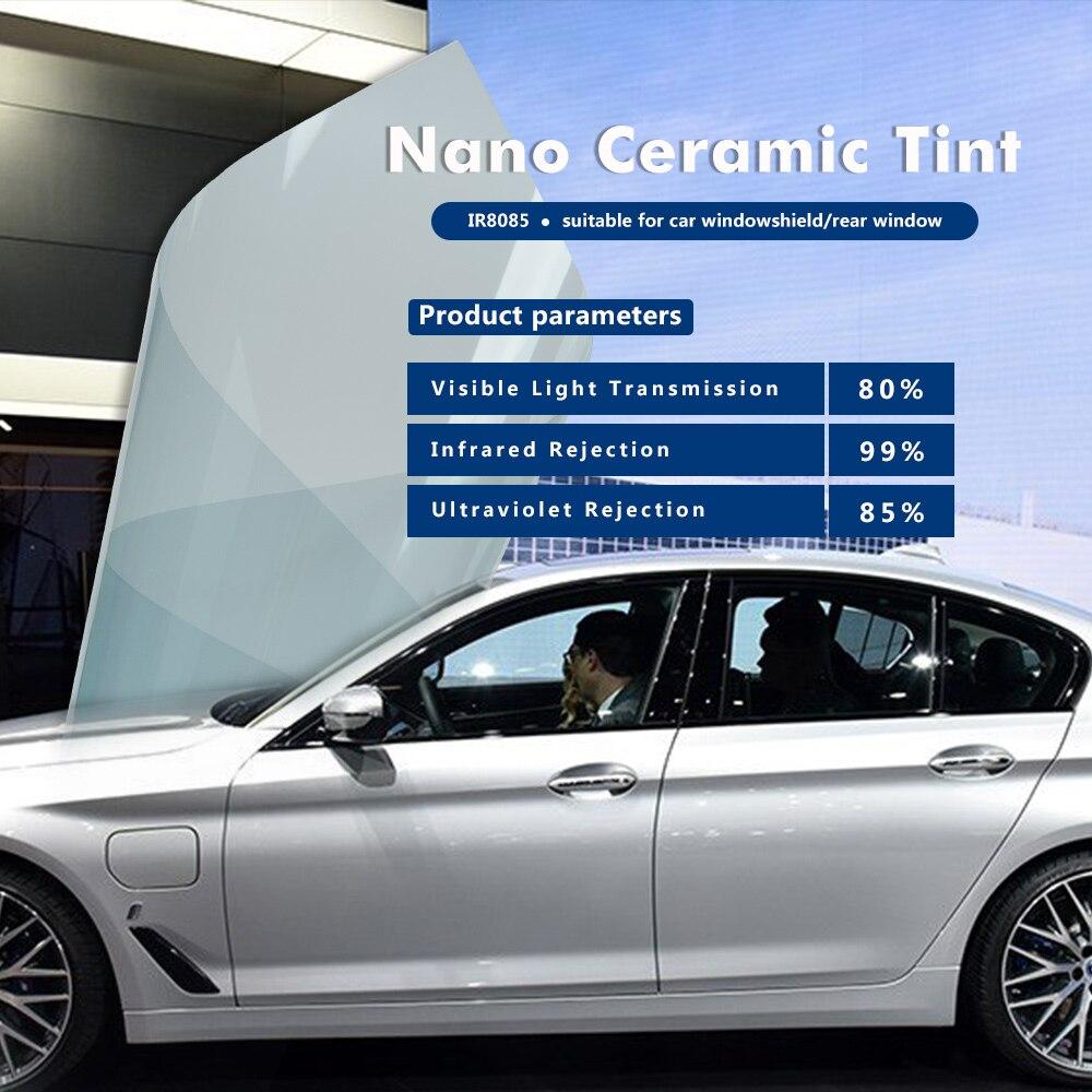 100 cm largeur 80% VLT bleu clair voiture parasol Nano céramique fenêtre teinte Film voiture soleil ombre fenêtre teinte maison Commercial vinyle