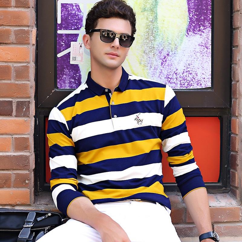 Men's   Polo   Shirt Long sleeve Fashion Men Striped   Polo   Shirts Cotton Slim Fit   Polos   Top Casual Camisas Masculinas Plus Size M-3XL