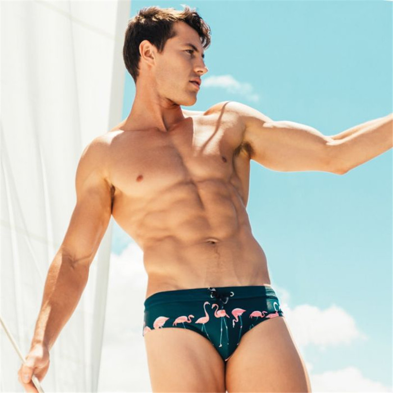2019 New Arrival Swimwear Sexy Mens Swim Suits Gay Pouch Flamingo Summer Triangular Swimming Briefs Mens Swimwear in Body Suits from Sports Entertainment
