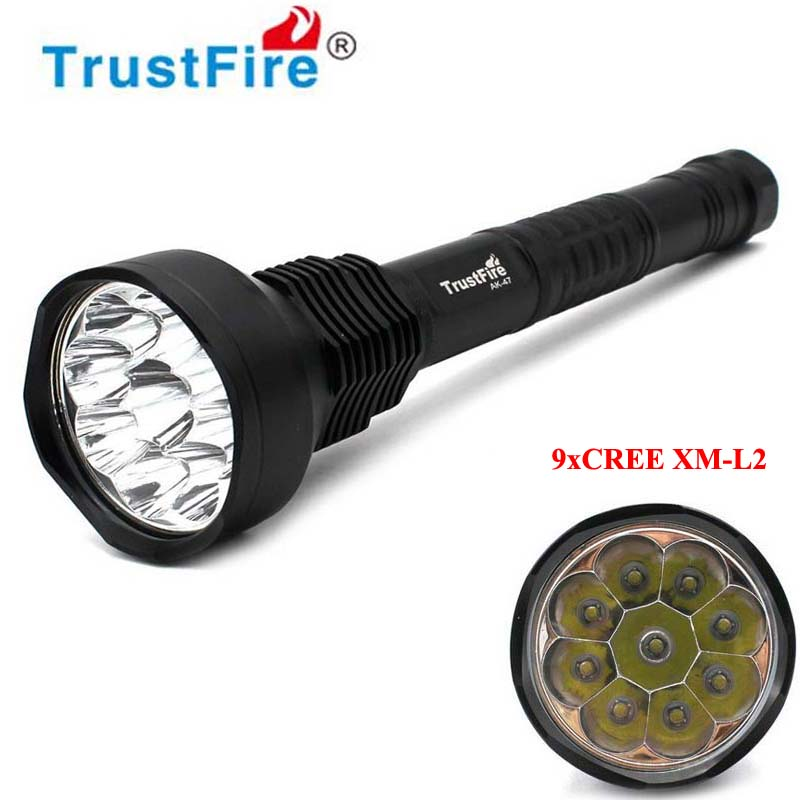 TrustFire AK-47 9xCREE XM-L2 11000lm 5-Mode LED Flashlight (3x18650/3x26650) trustfire k101 3xcree xml t6 3000lm 5 mode led flashlight with charger and battery 3x26650