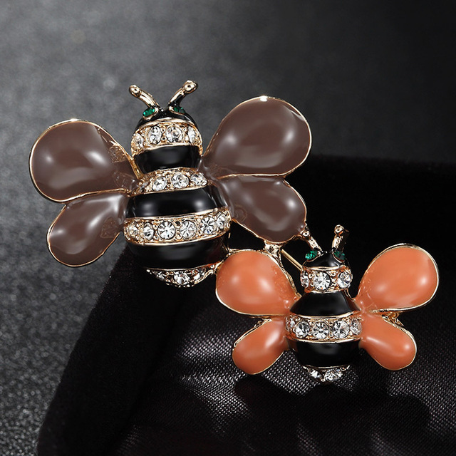 Cute Brown Enamel Bees Brooches for Women Men Jewelry Brand Rhinestone  Crystal Hijab Pins Best Hats ec4e1e791bc0