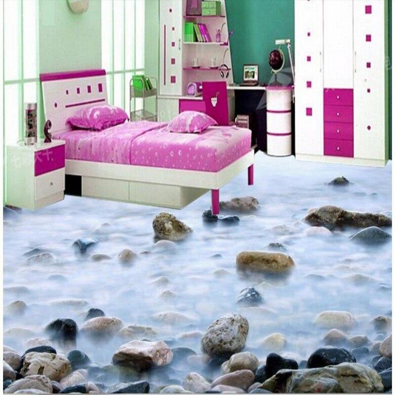 Custom Flooring Hd Pebble Bathroom 3d Floor Painting Three