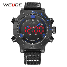 WEIDE Luxury Brand Watches LED Alarm Stainless Steel Buckle Nylon Band Blue Digital Sport Herren Quartz Army Men Analog Relogio