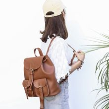 Vento Marea Black Faux PU Leather Backpack Women Girl Schoolbag Casual Daypack Drawstring Front Pocket Big Capacity Shoulder Bag цена 2017