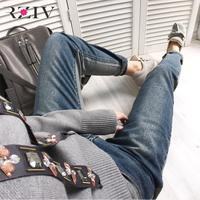 RZIV 2017 jeans woman casual two color jeans high waist stitching nine points denim boyfriend jeans trouser