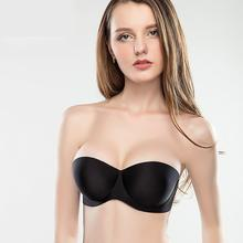 sexy bra bride dress hidden seamless one-piece push up transparent straps women 1/2 cup non-slip big size