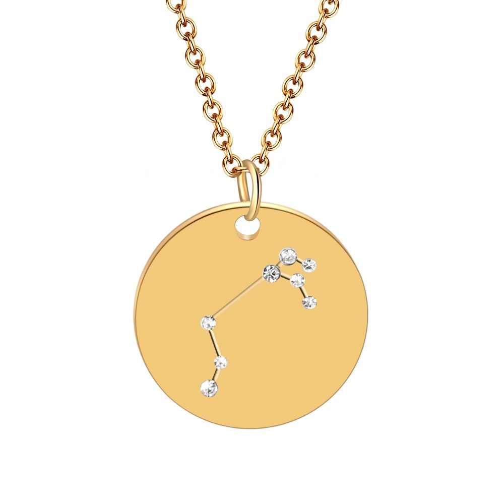Constellation Jewelry Stainless Steel Crystal Zodiac Pendant Necklace for Women Gold Choker Birthday Personality Necklace bijoux