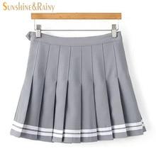 2017 otoño primavera nuevas faldas para niñas plisadas falda de colegialas  uniformes cos cintura sólida plisada falda de rayas d. 66a5ff7abab5