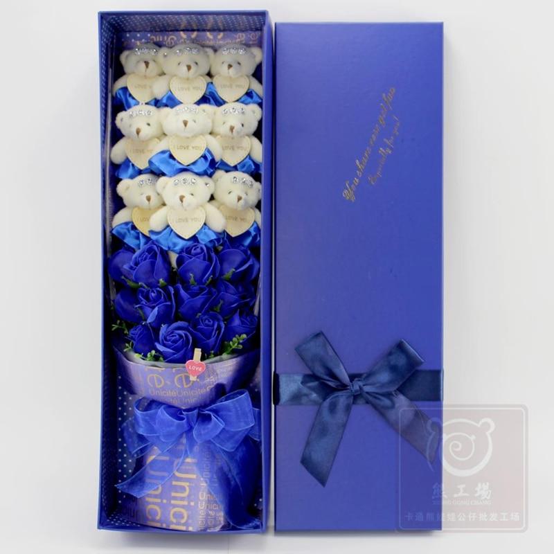 Bouquet d'ours doux en peluche coloré avec boîte, poupées en peluche fleur, cadeau de mariage proposé