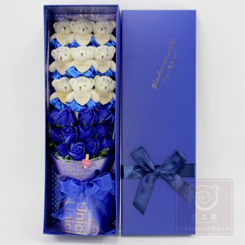 Colorful Plush Soft Bears Bouquet With Box, Stuffed Toys Dolls Flower, Graduation Birthday Girlfriend Proposed Wedding Gift