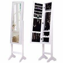 Goplus Jewelry Armoire Шкаф с алмаз зеркало и стоять Спальня шкаф с замочком современные деревянные хранения Организатор HW56031