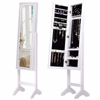 Goplus Jewelry Armoire Cabinet With Diamond Mirror And Stand Bedroom Armoire Lockable Modern Wood Storage Organizer