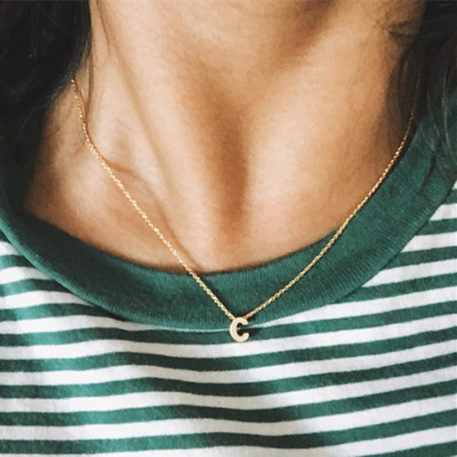 Tiny gold initial necklace gold letter necklace  initials name necklaces pendant for women girls .best birthday gift