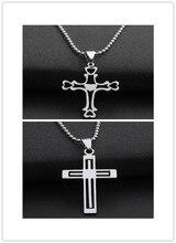 Stainless Steel Multilayer hollow Love Heart Cross Necklace Religion Jesus Titanium Faith