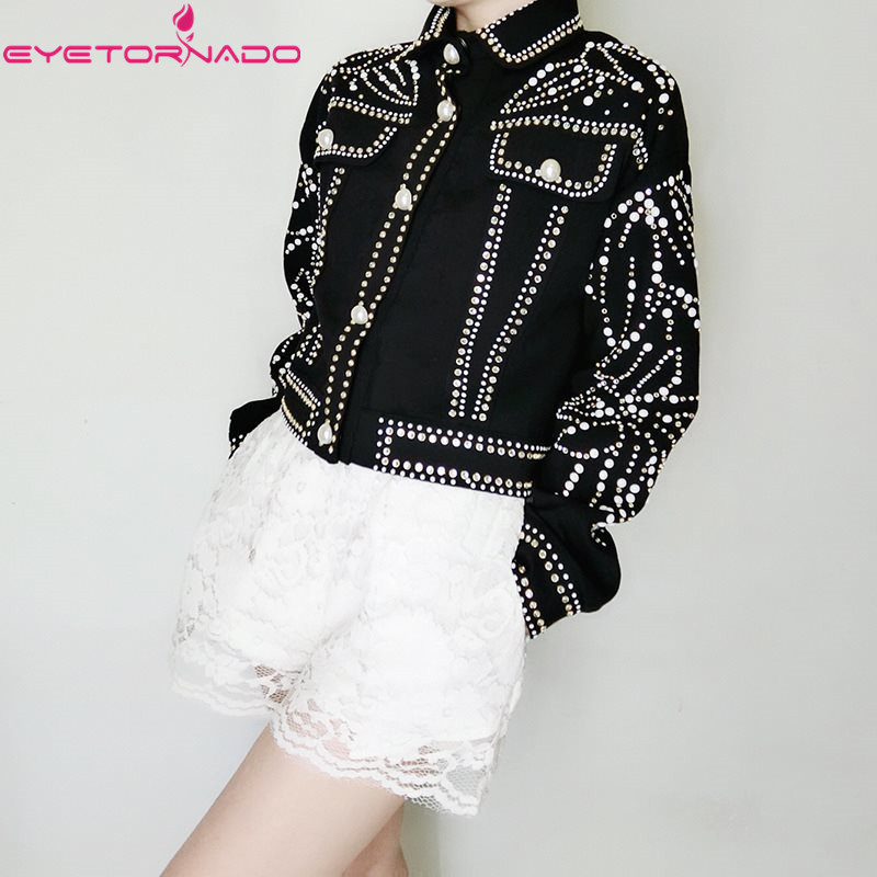 2019 Women Autumn Winter Luxury Rivet Pearls Beading Slim Short   Basic     Jacket   Black Pockets Chic Street Bomber Baseball   Jacket