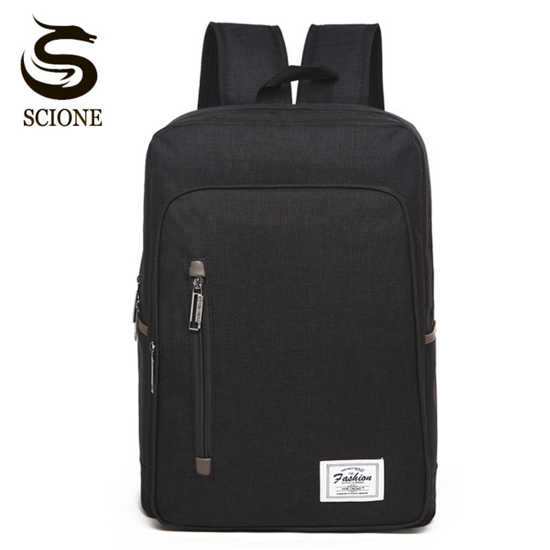 Scione Fashion Brand Men Laptop Backpack Canvas School Bags for Teenagers Student Bookbag Male Female Business Backpack Daypack