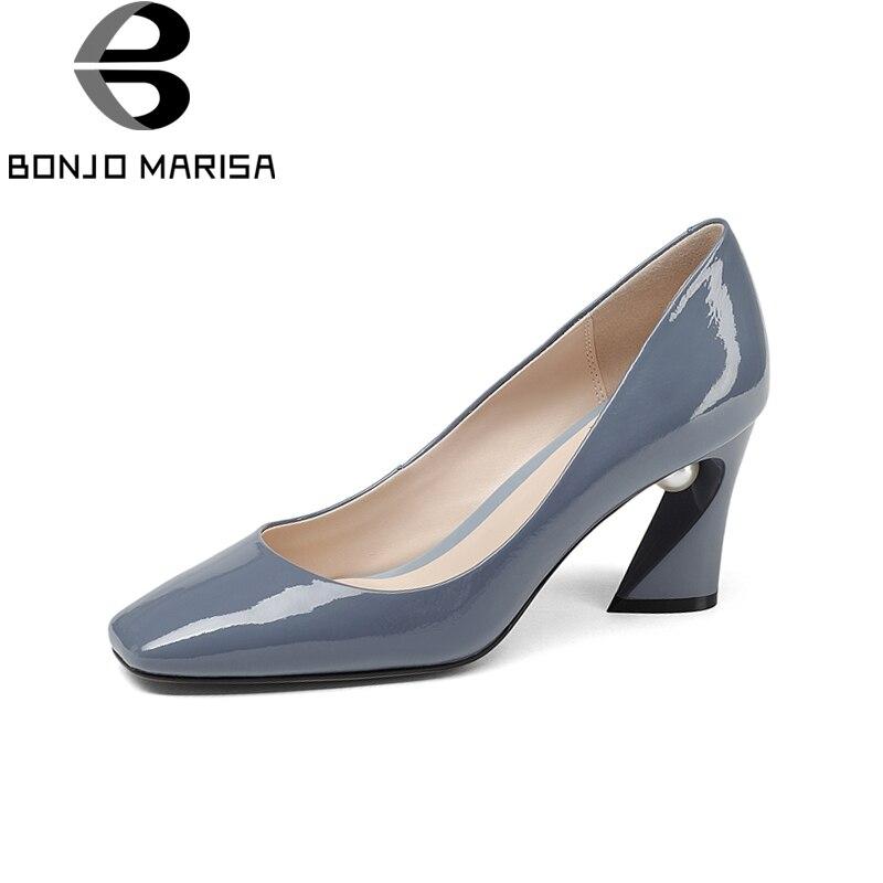 BONJOMARISA Nieuwe Mode Lederen Vierkante Hoge Hakken slip on Solid Schoenen Vrouw Beknopte Lente Pompen Big Size 33  43-in Damespumps van Schoenen op  Groep 1