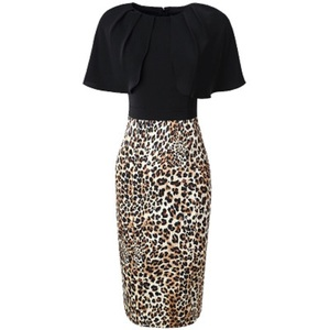 Image 3 - 2019 new Spring Designer Leopard Print sexy patchwork dress Women sexy Party Dress Plus Size Office short sleeved summer dresses