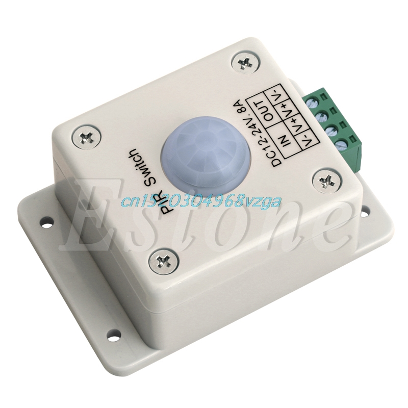 Automatic Infrared PIR Motion Sensor Switch For LED light Xmas DC 12V-24V 8A #H028# automatic infrared motion sensor switch black dc 12v