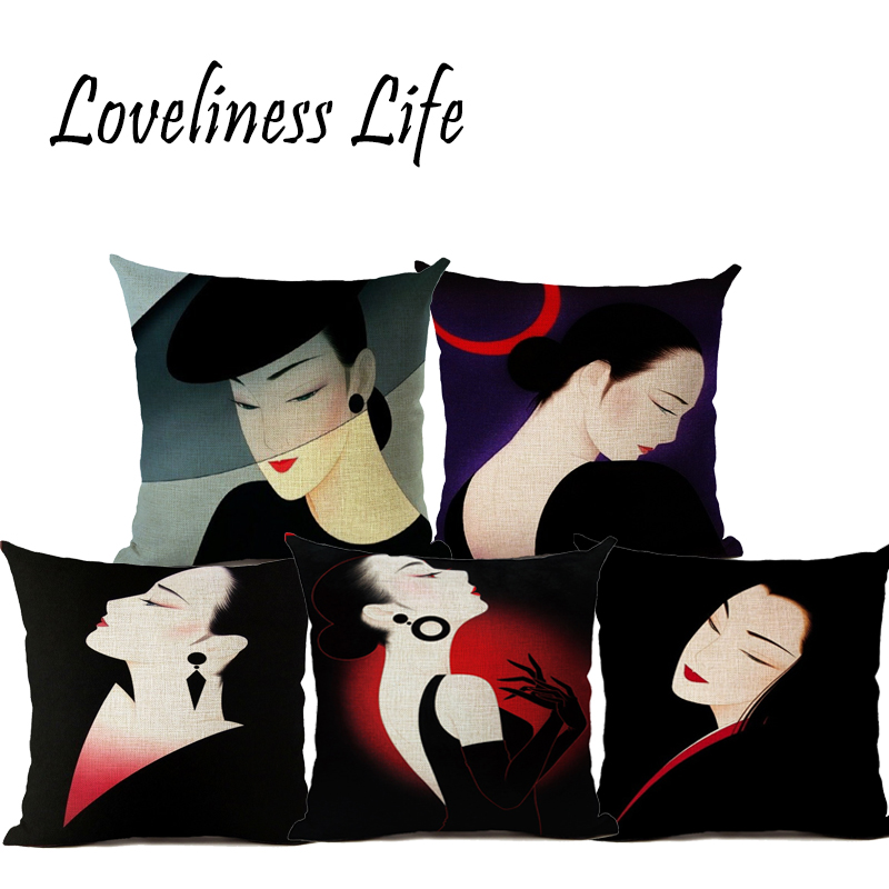 Vintage Style Japanese Girls Throw Pillow Decorative Cushion Cover Pillow Case Customize Gift For For Living Room Pillowcase