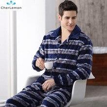 Зимние мужские теплые фланелевые пижамы с длинными рукавами из плотного флиса гостиная сна набор мужской мягкая Пижама пижамы плюс Размеры Домашняя одежда M-4XL