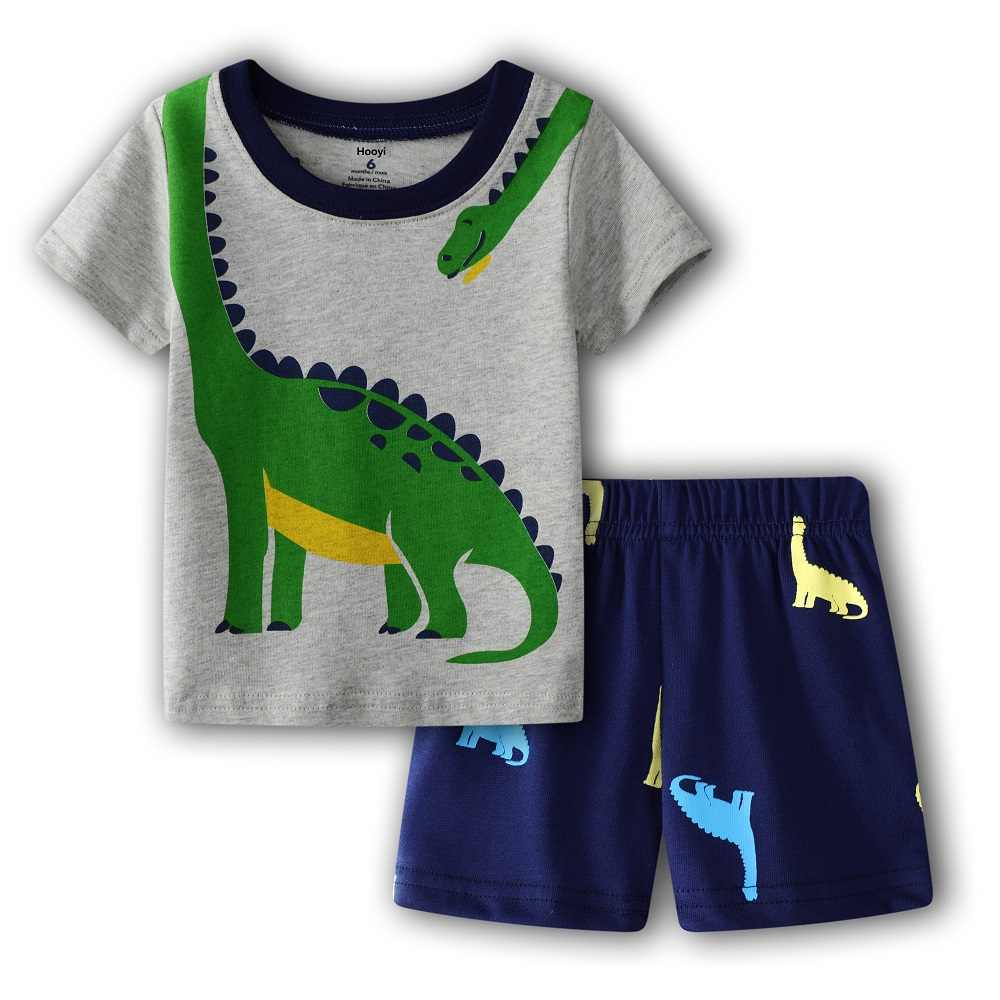 Ropa de verano para niños pequeños traje verde dinosaurio bebé niño trajes 100% algodón Top + pantalón 2 piezas conjunto ropa para recién nacidos 6 9 12 18 24 meses