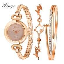 2017 xinge marca relojes mujeres de moda de lujo de oro rosa de cristal brazalete de la pulsera reloj de las mujeres vestido reloj mujer niñas reloj