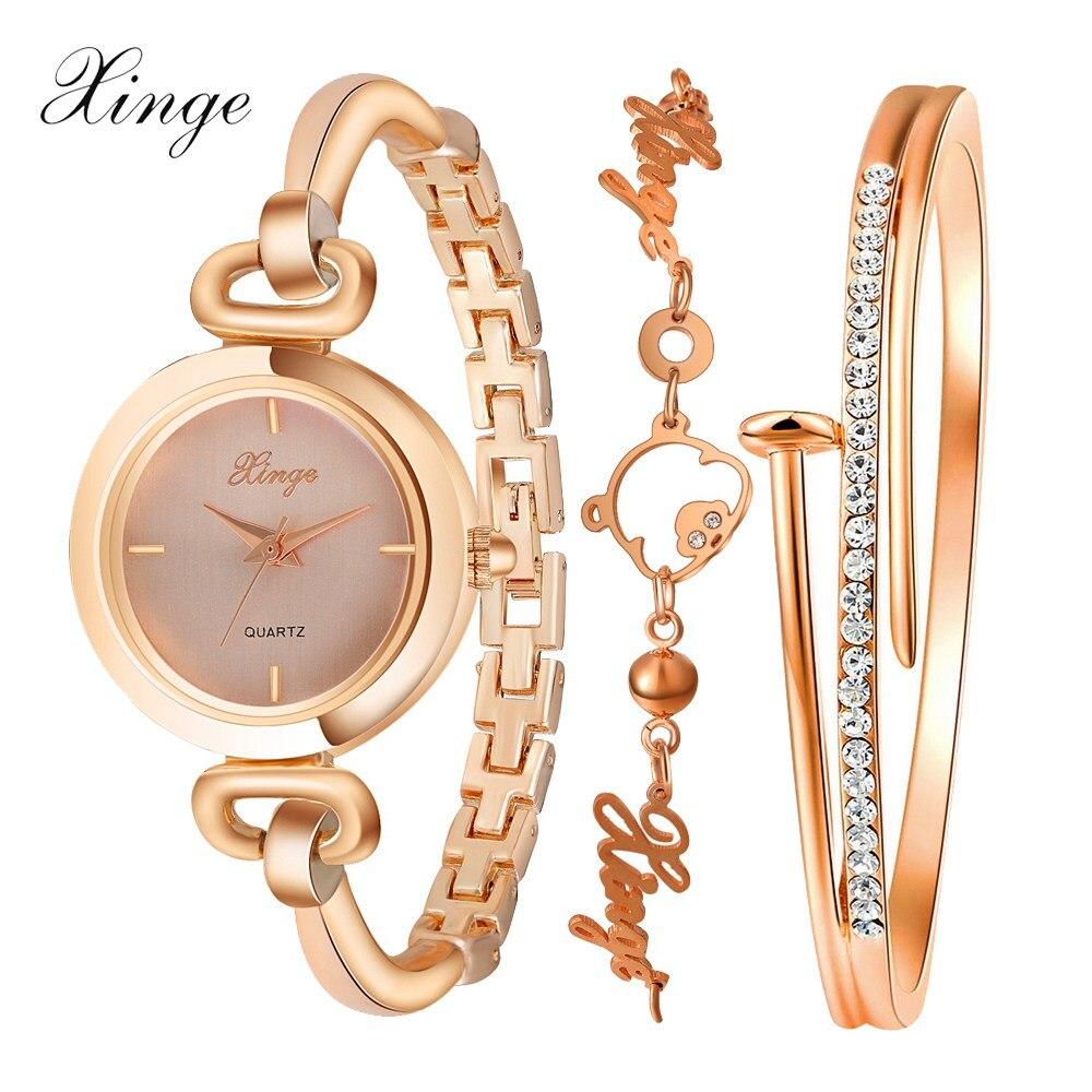 Prix pour 2017 Xinge Marque Montres Femmes De Luxe De Mode Or Rose Bracelet En Cristal Bracelet Montre Femmes Robe Horloge Femelle Filles Montre-Bracelet
