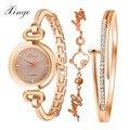 2017 marca xinge relógios das mulheres moda de luxo em ouro rosa de cristal bangle pulseira relógio mulheres se vestem relógio feminino meninas relógio de pulso