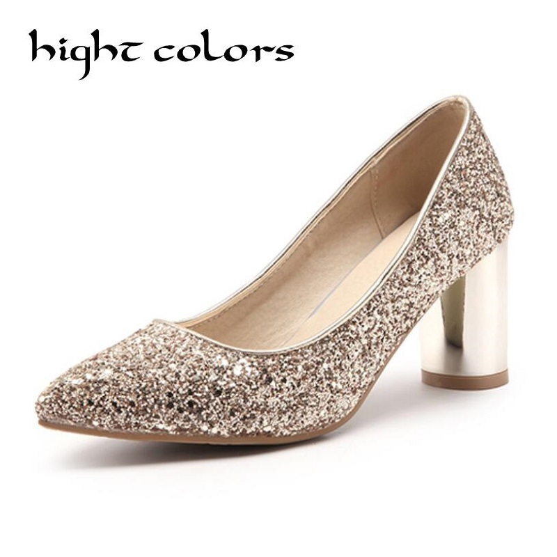 hight colors Vintage Thick Heels Woman Beautiful Sexy Wedding Shoes bling Sequined Cloth Gold Silver High Heel Shoes JY33