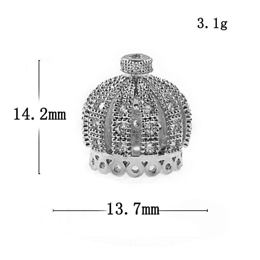 NEW Supplies For Jewelry Wholesale Micro Pave Zircon Crown Tassel Caps Beads DIY Tassels Earrings Accessories Findings