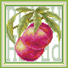 Colored Fruit-Peach Cotton Canvas DMC Cross Stitch Kit 100%