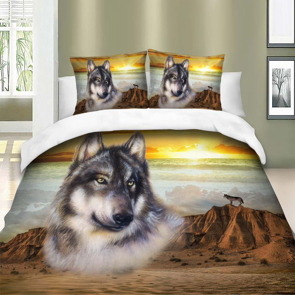 Image 2 - 3D Wolf Bedding Set Duvet Cover Bedclothes Twin queen king size 3pcs Home Textiles dropship-in Bedding Sets from Home & Garden