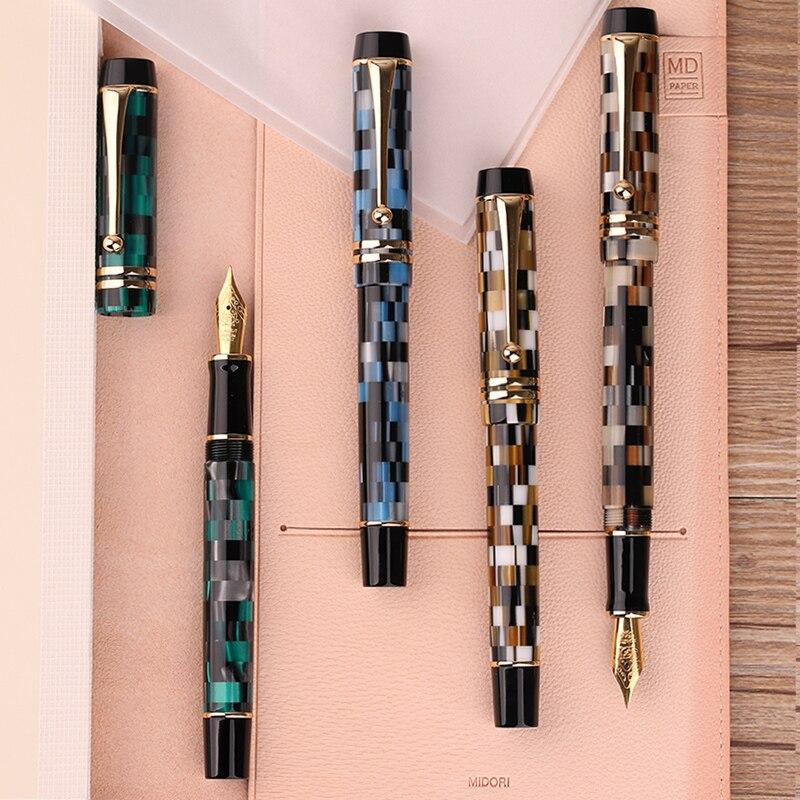 Nouveau Moonman M600 celluloïd damier stylo plume allemagne Schmidt Fine Nib 0.5mm excellente mode bureau écriture cadeau stylo