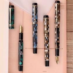 Nuevo Moonman M600 celuloide chekerboard pluma estilográfica Alemania Smith fina Nib 0,5mm excelente moda Oficina escritura regalo pluma