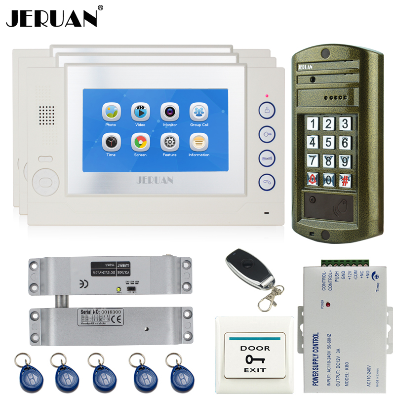 JERUAN 7 INCH Video Intercom Door Phone System kit 3 TOUCH SCREEN White Monitor +Metal waterproof password HD Mini Camera 1V3 exported quality screen printing frame 7 5x10 inch 19x25cm wholesale price door to door