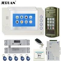 Jeruan 7インチビデオインターホンドア電話システムキット3タッチスクリーンホワイトモニター+金属防水パスワードhdミニカメラ1v3