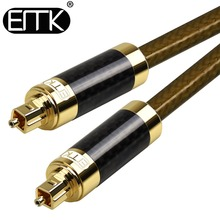 EMK  Carbon fiber shell optical digital SPDIF toslink audio cable free shipping
