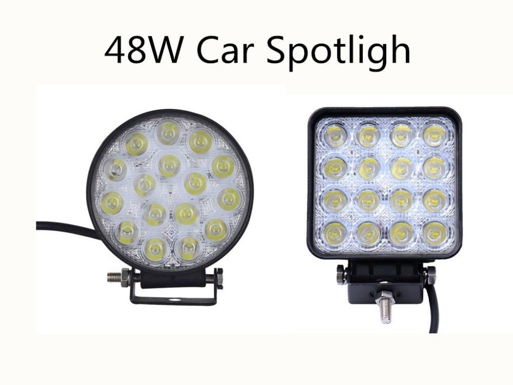 10pcs 48W Car LED Spotlight Bar 16 X 3W 4800LM 12V Work Floodlight Spotlight Led Light For Boating Hunting Fishing Round/Square дежурное освещение other spotlight 12v led