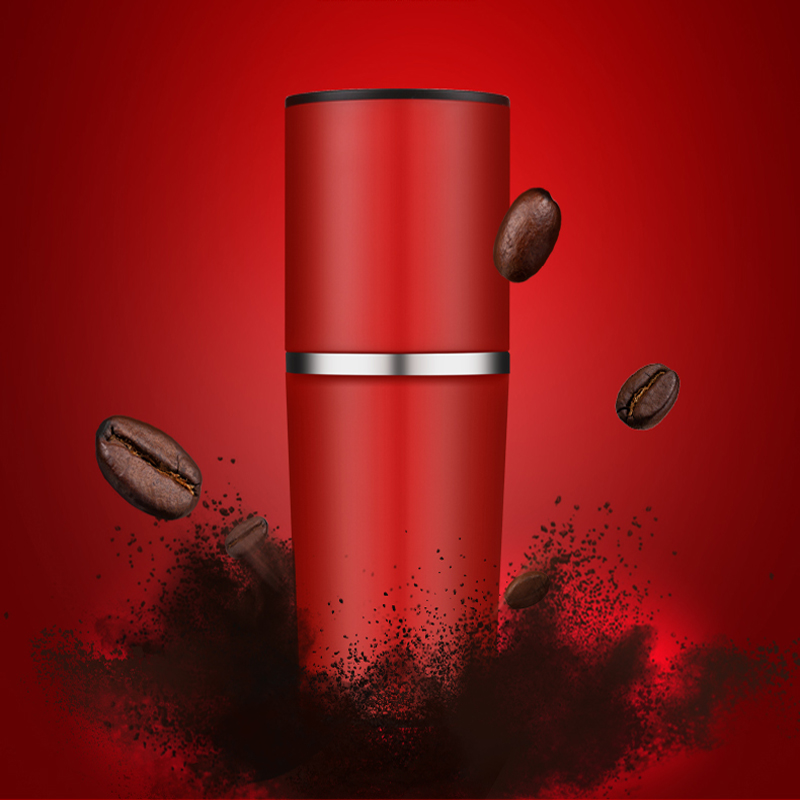 2016 new Portable Hand red coffee pot Multifunction Small Coffee machine Hand Grinding filter Accompanied by coffee cup portable coffee maker manual coffee making machine coffee filter hand travelling french press pot 350 pcs metal filter paper