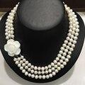 Triángulo de Perlas de Agua Dulce Blanco Collar de Perlas Shell Corchete de La Flor Real 7-8 MM Envío Libre Joyería de Las Mujeres Clásicas
