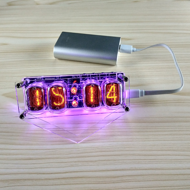 Horloge lumineuse IN-12 horloge à 4 chiffres LED colorée DS3231 horloge Nixie