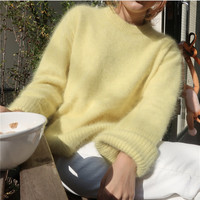 HAMALIEL Korean Chic Mink Cashmere Warm Women Sweater Winter Fashion Yellow Knitted Soft Tops Casual Long Sleeve Loose Pullovers