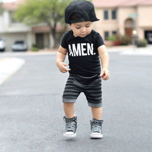 2pcs Baby Boy Clothes T-shirt Tops+Striped shorts Hot Toddler Infant Boys Letter Cotton clothes set