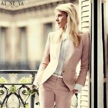 ef6479b8d400 CUSTOM light pink 2018 fashion womens business suits 2 piece blazer set  slim fit female office uniform ladies pant suits