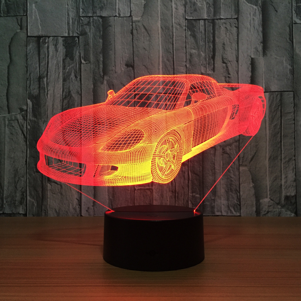 Super Car Ferrari lámpara de mesa 7 cambio de color lámpara de escritorio lámpara 3d novedad Led noche luces Led Luz Luces colgantes nórdicas modernas colgantes de cristal E27 E26 LED para cocina restaurante Bar sala de estar dormitorio