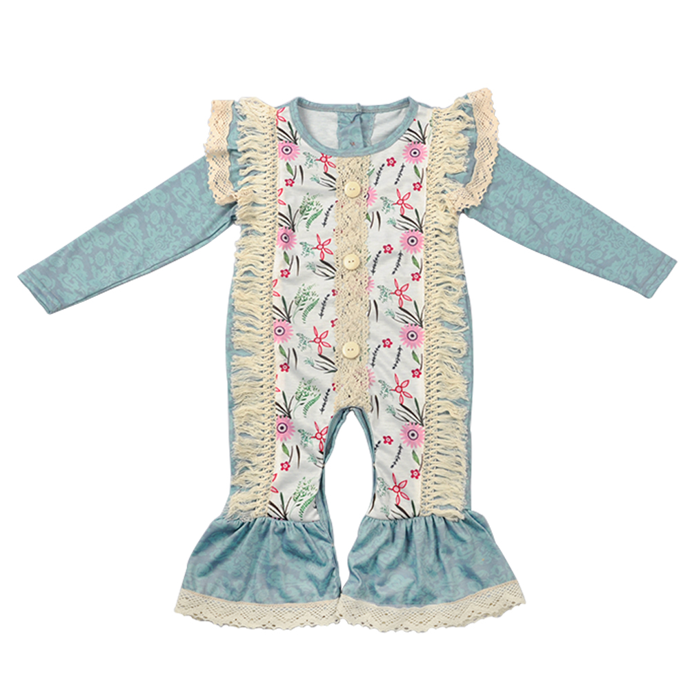 Baby Girl   Rompers   2019 New Newborn Fall Long Sleeve Ruffle Cotton Floral Tassel Clothes Infant Kids Girl   Romper   GPF807-196