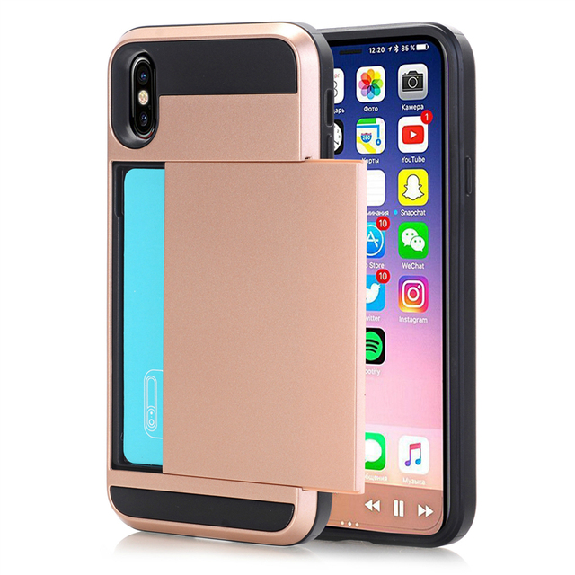 b86279ab81 Slide Wallet Card Storage Armor Case for IPhonex Shockproof Back Cover  Coque for IPhone 7 8