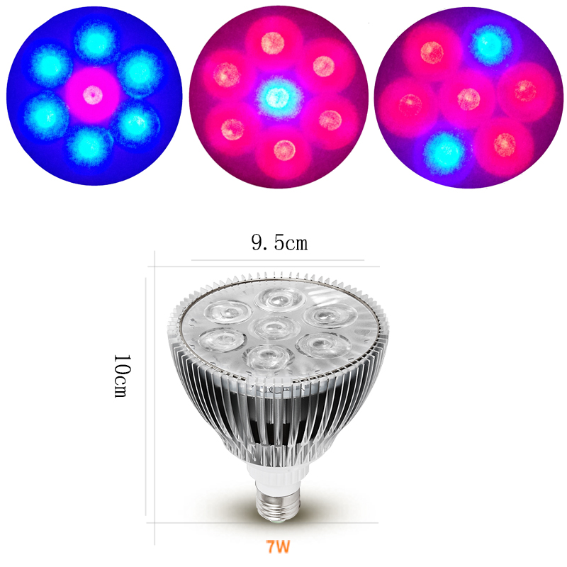 7W Phyto Lamp Full Spectrum LED Grow Light E27 Plant Lamp With Clip For Greenhouse Hydroponic Vegetable Flower Fitolampy led grow light full spectrum fitolampy hydroponics phyto lamp sunlight for vegetable flower seedings greenhouse plant lighting
