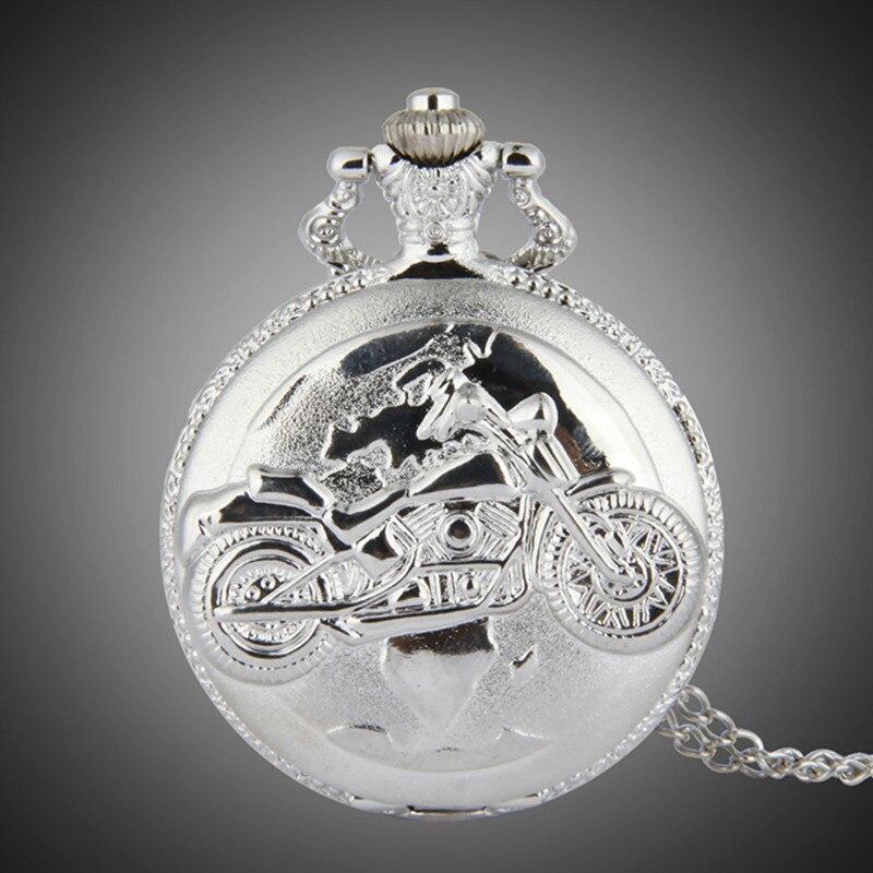 New Silver Color Pocket Watch Motorcycles Pattern Relogio De Bolso Quartz Watch With Necklace Quartz Clock  Masculino Relogio